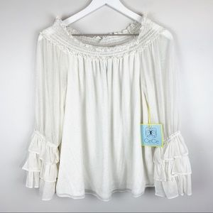 NWT CeCe Off The Shoulder Ruffle Cuff Blouse